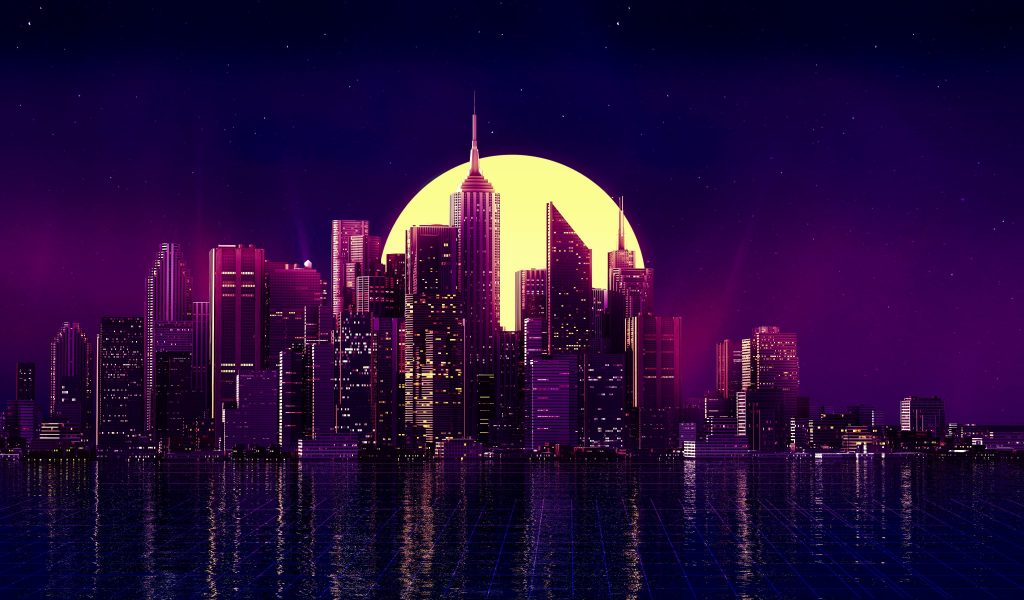 Neon City Buildings Reflection Skycrapper Minimalism Wallpaper
