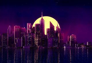 Neon City Buildings Reflection Skycrapper Minimalism Wallpaper