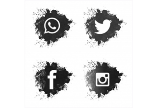 دانلود وکتور Social media black grunge icons set