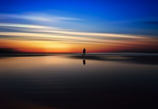Beach Dusk Sunset Silhouette 5k Wallpaper