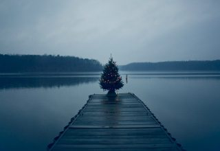 Christmas Tree on Pier Wallpaper