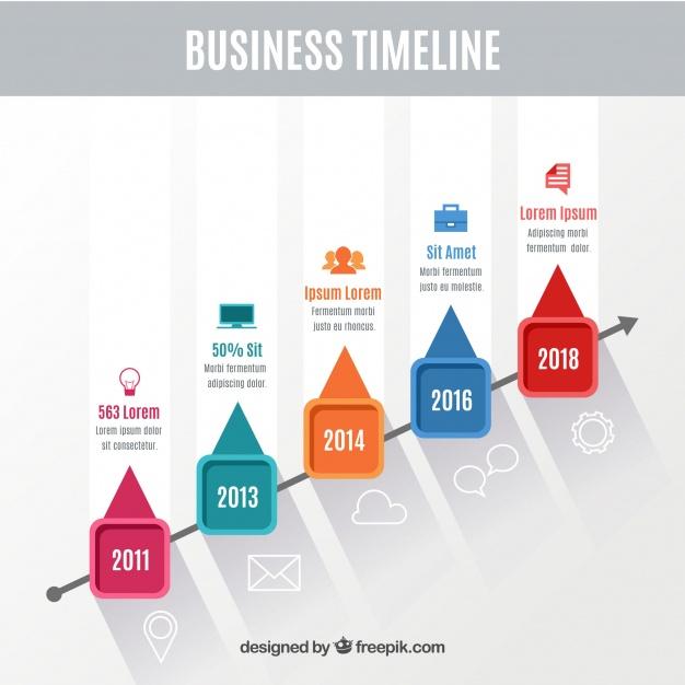 دانلود وکتور Colorful business timeline with flat design