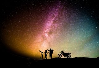 Couple Motorcylist Telescope Aurora Sky Wallpaper