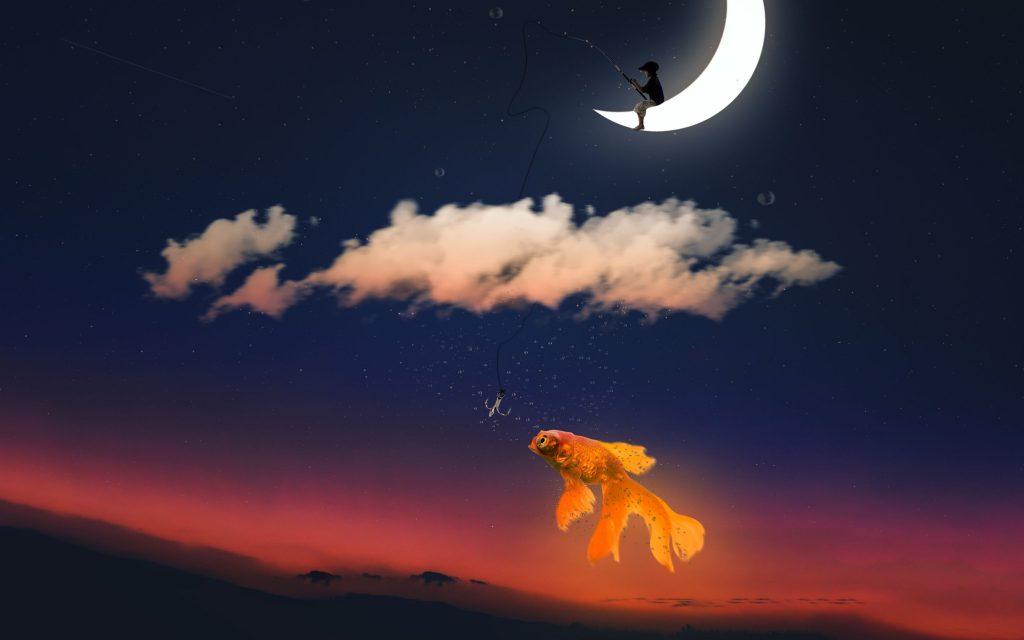 Fishing Dream Moon Wallpaper