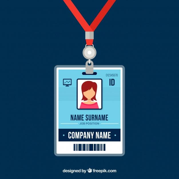 دانلود وکتور Flat id card template with clasp and lanyard