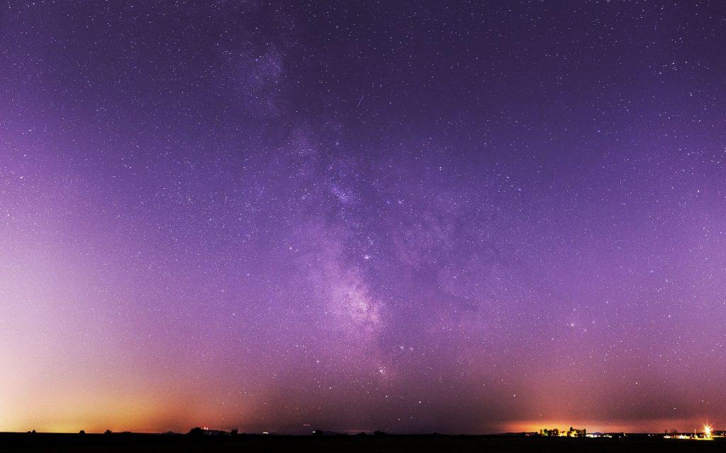 Milky Way Stars Night Sky Purple Wallpaper