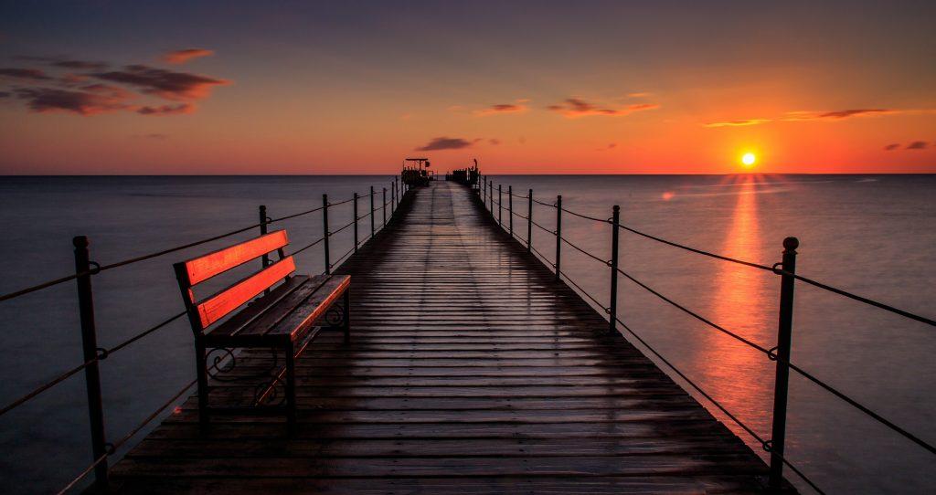 Pier Bench Sunset Wallpaper