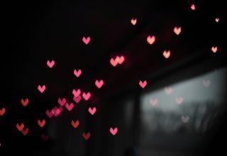 Pink Little Heart Bokeh Lights Wallpaper