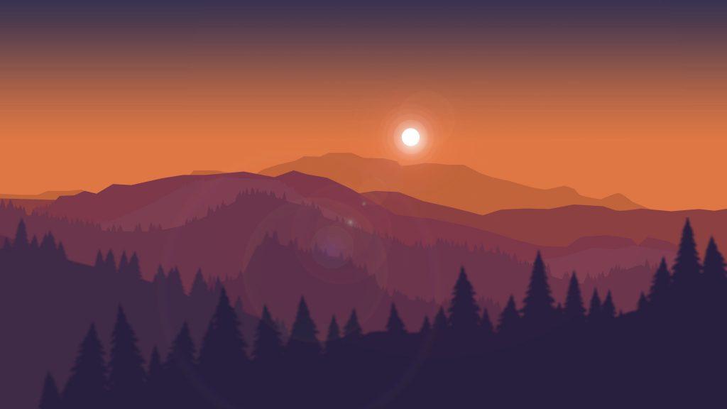 Sunset Mountains Firewatch Minimal Silhouette Wallpaper