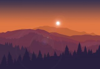 Sunset Mountains Firewatch Minimal Silhouette Wallpaper