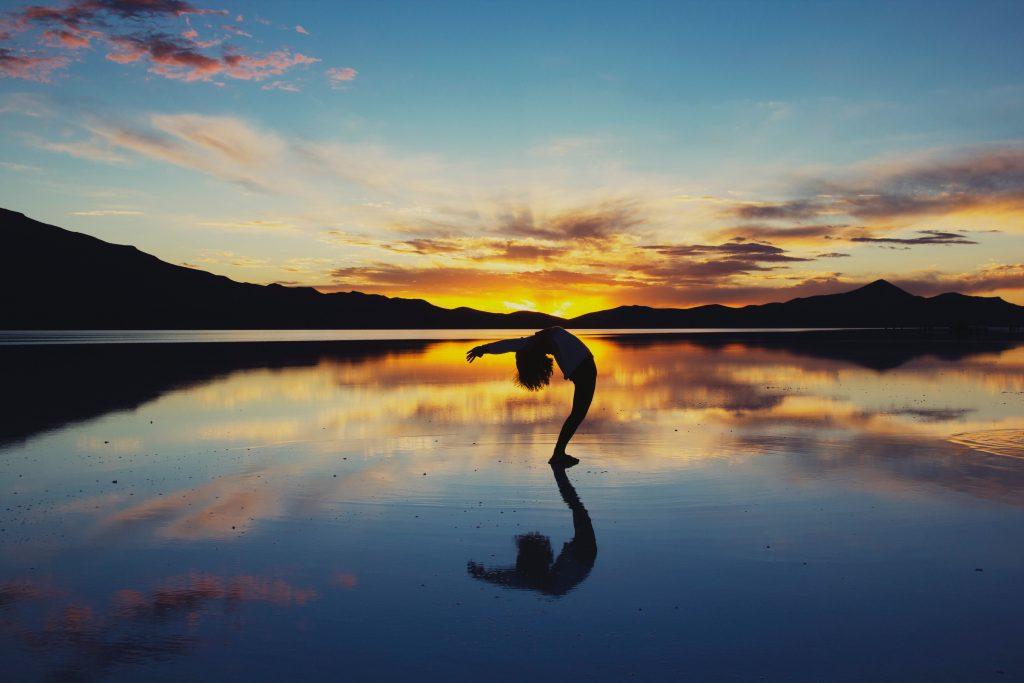Sunset Silhouette Nature Reflections Dusk Evening Wallpaper