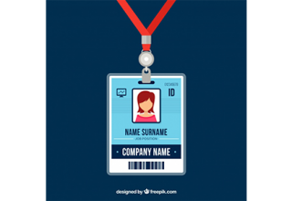 دانلود وکتور Flat id card template with clasp and lanyard