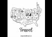 دانلود وکتور Hand drawn map with travel elements