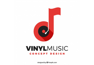 دانلود وکتور Music logo with note and vinyl