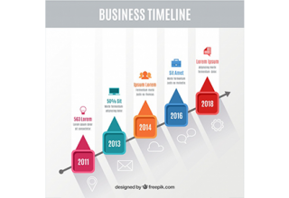 دانلود وکتور Colorful business timeline with flat design