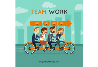 دانلود وکتور Team work concept with flat design