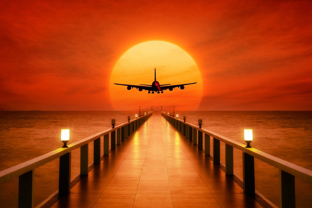 Airplane Photoshop Sunset Wallpaper