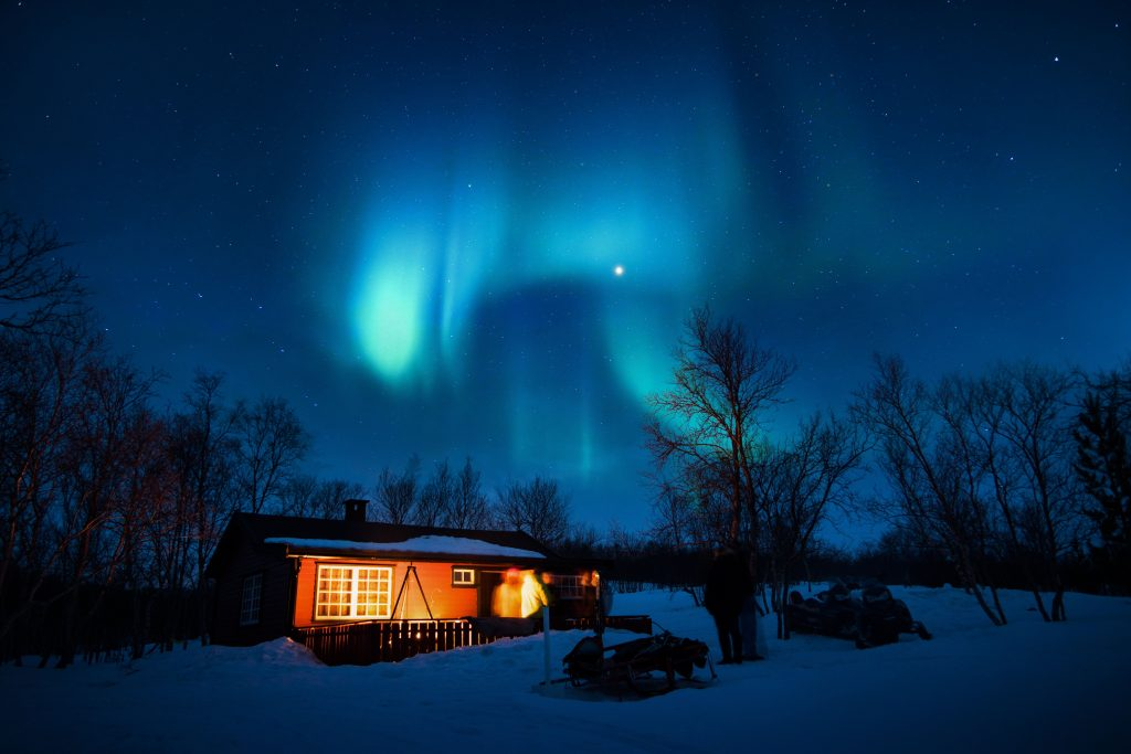 House Under Aurora Northern Lights Wallpaper