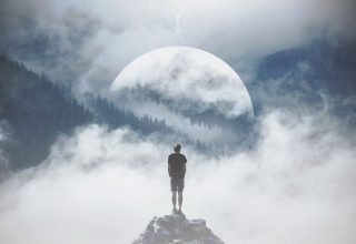 Mountain Man Standing on Rock Manipulation Photography Wallpaper