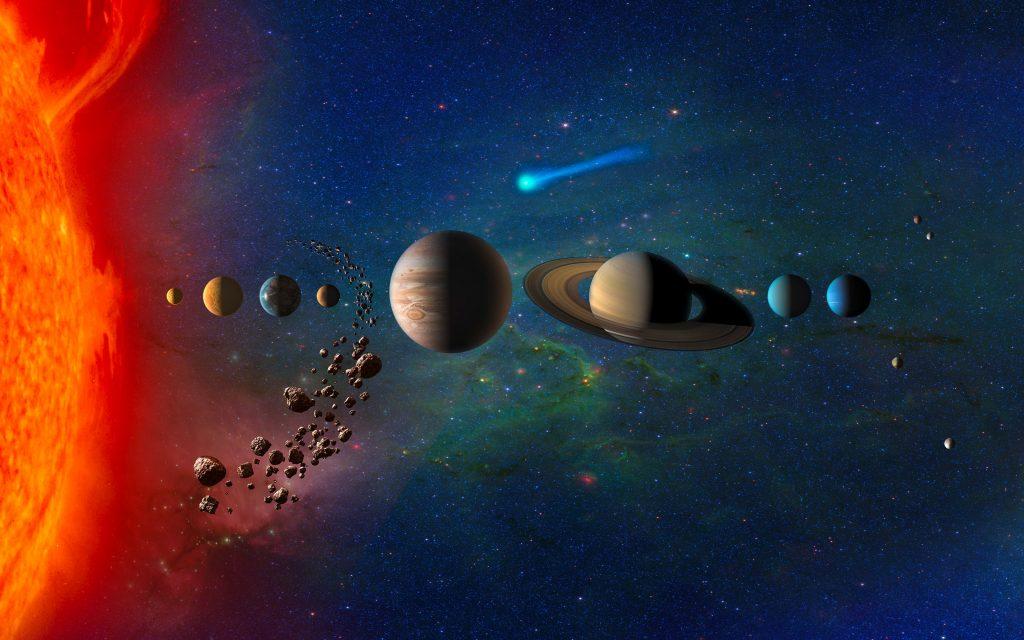Planets in Solar System 4k Wallpaper