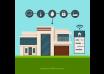 دانلود وکتور Smart home background with smartphone control