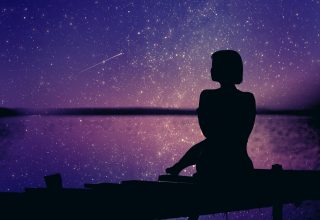 Woman Silhouette Background Sunset Stars 4k Wallpaper